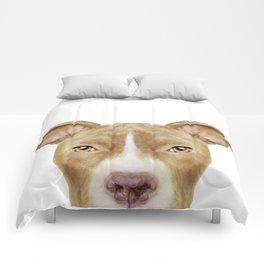 Pit Bull light Brown 2,Dog illustration original painting print Comforters