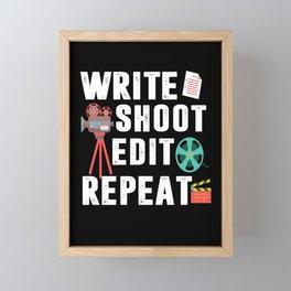 write shoot edit repeat producer director film Framed Mini Art Print