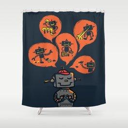 When I grow up - an evil robot dream Shower Curtain