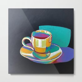 Painted Tea Cup Bright and Bold No. 3 Metal Print
