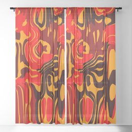 Cloudy flowing spots of calm colors with red. Sheer Curtain