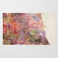 chicago map Area & Throw Rugs featuring Chicago map by Map Map Maps