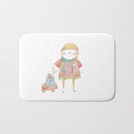 Bird Elf with a Gift Bath Mat