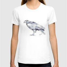 Hawk, Study in Blue and Black T-shirt