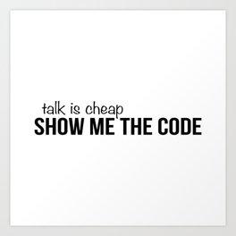Show me the code Art Print