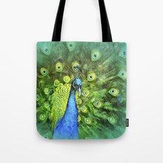 Peacock Pinwheel Tote Bag