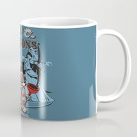 dungeons and dragons Mugs featuring PIPES & DRAGONS by Adams Pinto