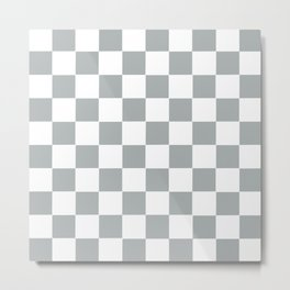 Checker Cross Squares Grey & White Metal Print