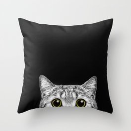 Curious Cat Peeking, Sneaky Kitty, Kitty Photography, Cat, Cats Throw Pillow