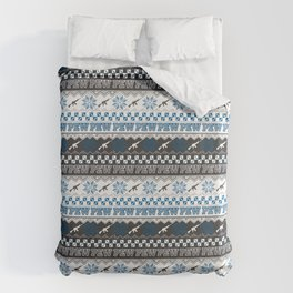 Pew Pew Gun Ugly Christmas Sweater Pattern Duvet Cover