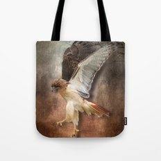 Red Tail Hawk in Vintage Light Tote Bag