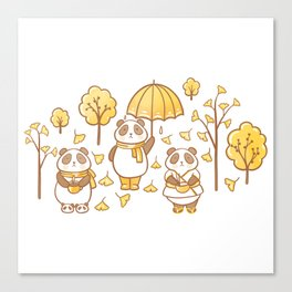 Pandas and ginkgo Canvas Print