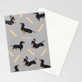 Grey Dachshund Print Stationery Cards