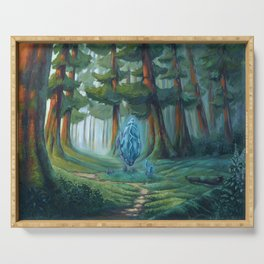 Forest magic crystal landscape Serving Tray