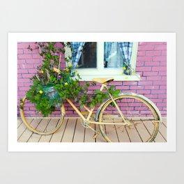 bike and pink brick Art Print