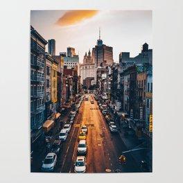 NewYork City Street and Skyline Poster