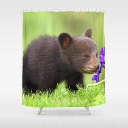 Extremely Sweet Adorable Small Black Bear Smelling Blossom On Idyllic Meadow Ultra High Resolution Shower Curtain