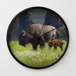 American Buffalo Bison Mother and Calf in Yellowstone National Park Wall Clock