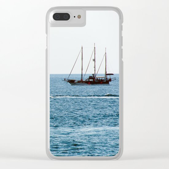 Sea and а ship. Romantic voyage Clear iPhone Case