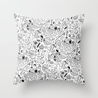seinfeld Throw Pillows featuring Seinfeld Pattern (White Background) by Jamie Leonard