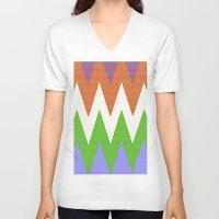 chevron V-neck T-shirts featuring Chevron by Saundra Myles
