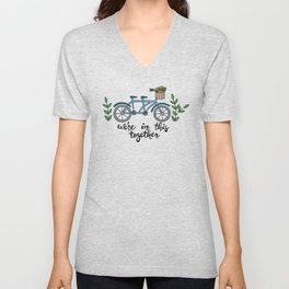 We're In This Together Tandem Bicycle  Unisex V-Neck