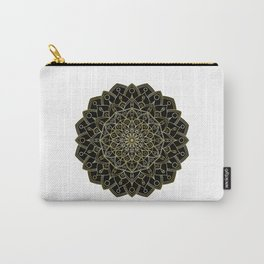 Petal Mandala | Golden Gradient Ombre Stroke & Black Filling Carry-All Pouch