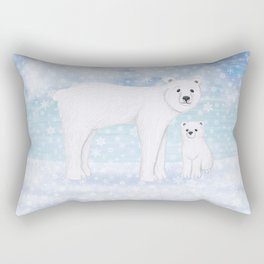 polar bears in the snow Rectangular Pillow