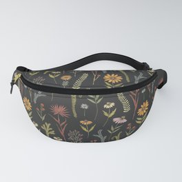 flat lay floral pattern on a dark background Fanny Pack