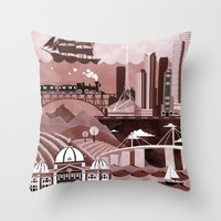 travel poster Throw Pillows featuring Melbourne Travel Poster Illustration by ClaireIllustrations