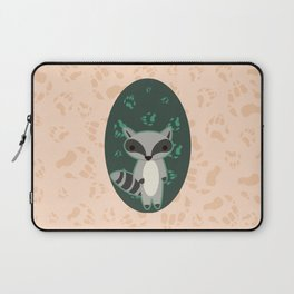 Raccoon with Paw Prints Laptop Sleeve