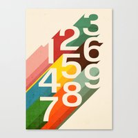 budi Canvas Prints featuring Retro Numbers by Picomodi