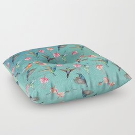 Vintage Watercolor hummingbirds and fuchsia flowers Floor Pillow