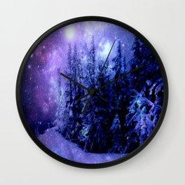 Galaxy Winter Forest Lavender Purple Blue Wall Clock