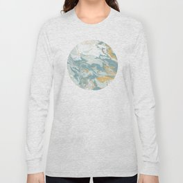 Marble - Grey, Blue, & White Long Sleeve T-shirt
