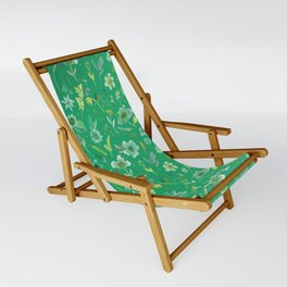 Verdant Flowers on Emerald Background Sling Chair