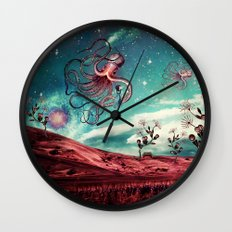Sunrise Flight on Purple Planet Wall Clock