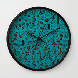 Faux Leather Embossed Musical notes on teal Wall Clock
