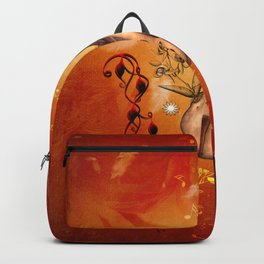 Violin with violin bow and dove Backpack
