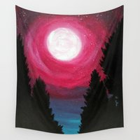 the moon Wall Tapestries featuring Moon by Tesseract