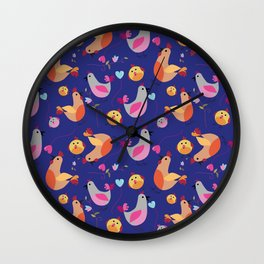 family of hens on the blue background. Wall Clock
