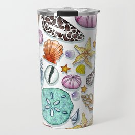 Illustrated Seashell Pattern Travel Mug