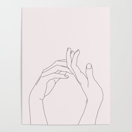 Hands line drawing illustration - Abi Natural Poster