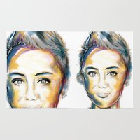 miley cyrus Area & Throw Rugs featuring Miley Cyrus by caffeboy
