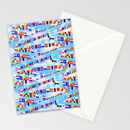 Maritime Signal Flags Pattern with Sailor Sayings Stationery Cards