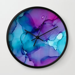 Alcohol Ink - Wild Plum & Teal Wall Clock