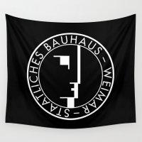 bauhaus Wall Tapestries featuring BAUHAUS LOGO / BLACK by THE USUAL DESIGNERS