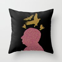 hitchcock Throw Pillows featuring Hitchcock by Ryan W. Bradley