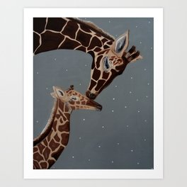 Mom and Baby Giraffe Art Print