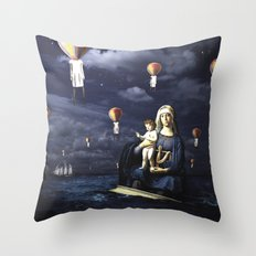Madonna with Child (on the high sea) Throw Pillow